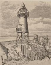 """Robert Stanley G. Dent (1909-?) British. Study of a Lighthouse, Etching, Signed in Pencil, Unframed, 5.25"""" x 4.25"""", and Four others by the same hand, (5)."""