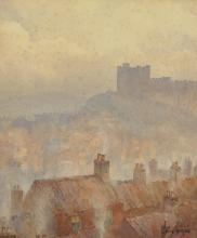 """John Ernest Aitken (1881-1957) British. """"Richmond Castle"""", a Rooftop View, Watercolour, Signed, and Inscribed on the reverse, 13.5"""" x 11.5""""."""