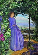 John Liston Byam Shaw (1872-1919) British. A Lady Standing under a Vine, wearing a Lilac Dress, and extensive landscape