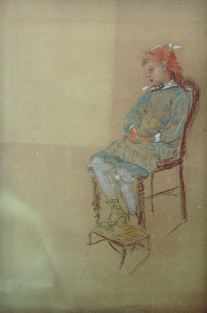 Charles Emmanuel Serret (1824-1900) French. A Seated Girl, wearing a blue dress with white ribbons, with her feet on a s