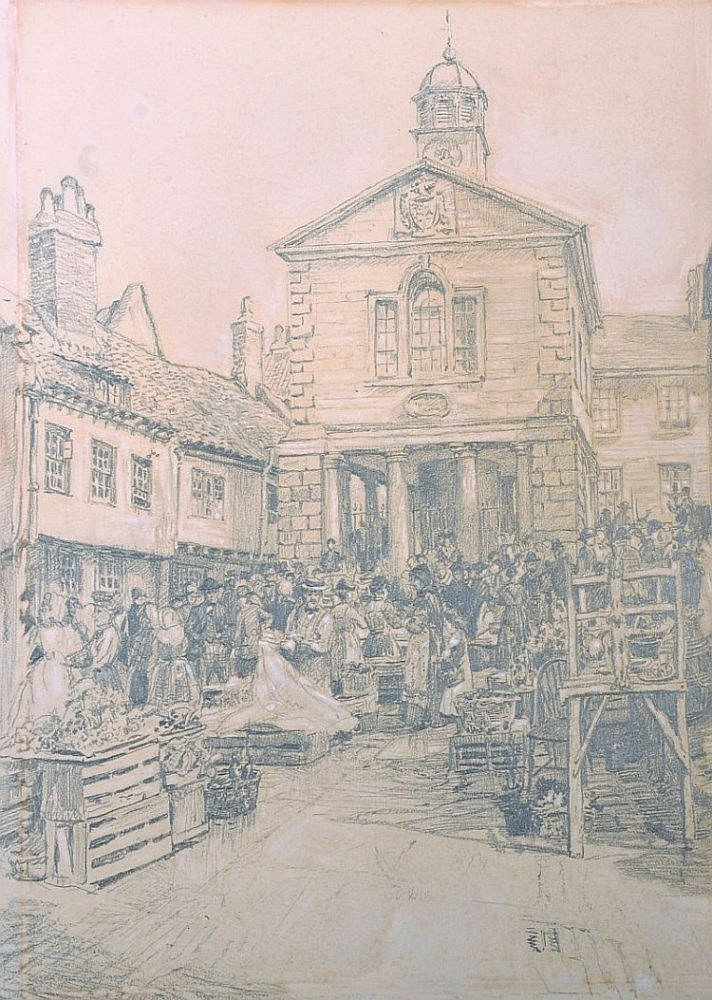William Larkin (19th Century) British. 'Market Day', Reigate, Mixed Media, Signed, Inscribed and Dated '73 on the revers