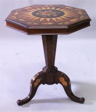 A GOOD 19TH CENTURY ROSEWOOD INLAID TILT TOP TRIPO
