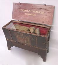 AN 18TH CENTURY CONTINENTAL STAINED PINE COFFER, o