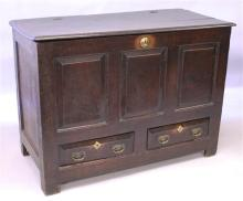 AN 18TH CENTURY OAK MARRIAGE CHEST with plain risi