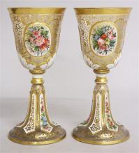 A VERY FINE PAIR OF VICTORIAN BOHEMIAN GOBLETS, wi