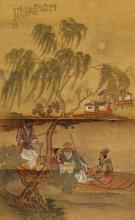 A PAIR OF 19TH CENTURY CHINESE HANGING SCROLL PAINTINGS ON SILK, one bearing the cyclical date corresponding to 1848, the paintings themselves approx. 22.5in x 14in.