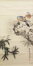 ANOTHER 20TH CENTURY CHINESE HANGING SCROLL PAINTING ON PAPER, depicting two pigeons perched on a rocky plinth, the painting itself approx. 30in x 15in.