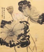 ANOTHER 20TH CENTURY CHINESE HANGING SCROLL PAINTING ON PAPER, depicting a scene of lotus, the painting itself approx. 23.25in high x 20in wide.