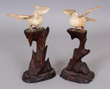 A PAIR OF JAPANESE MEIJI PERIOD SECTIONAL BONE CARVINGS OF WOOD PIGEONS, each perched on a tall fixed carved wood plinth, 7in high overall.