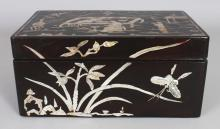 AN EARLY 20TH CENTURY CHINESE MOTHER-OF-PEARL INLAID RECTANGULAR WOOD BOX, 9.8in x 6.6in x 4.4in.
