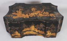 AN EARLY 20TH CENTURY CHINESE SHAPED LACQUER BOX & COVER, the interior containing smaller covered boxes of which some are fitted, 17.4in x 12.25in x 6.2in high.