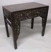 A GOOD 19TH CENTURY CHINESE RECTANGULAR HARDWOOD ALTAR TABLE, 39.75in wide x 23.25in deep x 37.5in high.