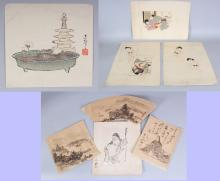 A GROUP OF THREE 19TH CENTURY JAPANESE EROTIC PAINTINGS ON PAPER, each leaf 15.3in x 10.8in; an early 20th Century signed woodblock print, 9.8in x 9.4in; and four early 20th Century paintings on paper, the largest 10.75in x 9.5in. (8)