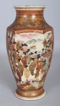 AN EARLY 20TH CENTURY JAPANESE SATSUMA HEXAGONAL SECTION EARTHENWARE VASE, 9.75in high.