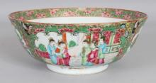 A 19TH CENTURY CHINESE CANTON PORCELAIN BOWL, 8.3in diameter & 3.3in high.