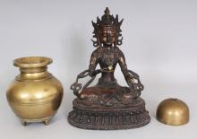 A CHINESE LACQUERED BRONZE FIGURE OF AMITAYUS BUDDHA, 8.1in wide at widest point of base & 10.8in high; together with an Eastern bronze jar, 6.1in high; and an Eastern bronze bell, 3.2in diameter. (3)