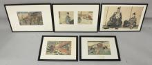 A GROUP OF FOUR FRAMED JAPANESE MEIJI PERIOD WOODBLOCK PRINTS, by Yoshitora and others, the largest frames 24in x 17.25in; together with a framed photograph of samurai, the frame 24in x 17.25in. (5)