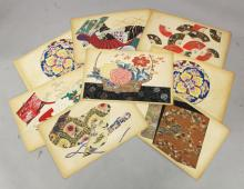 A GROUP OF TEN EARLY 20TH CENTURY JAPANESE KIMONO DESIGNS BY SEIUN TAGAKI, each 20.9in x 13.25in. (10)