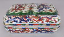 A CHINESE WANLI STYLE WUCAI PORCELAIN DRAGON BOX & COVER, of rectangular form with indented corners, the base with a six-character Wanli mark, 9.3in x 5.7in x 4.1in high overall.