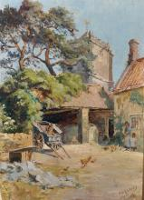 """Ernest Herman Ehlers (1858-1943) British. A Farmyard Scene, with Chickens in the foreground, Oil on Board, Signed, 14"""" x 10""""."""