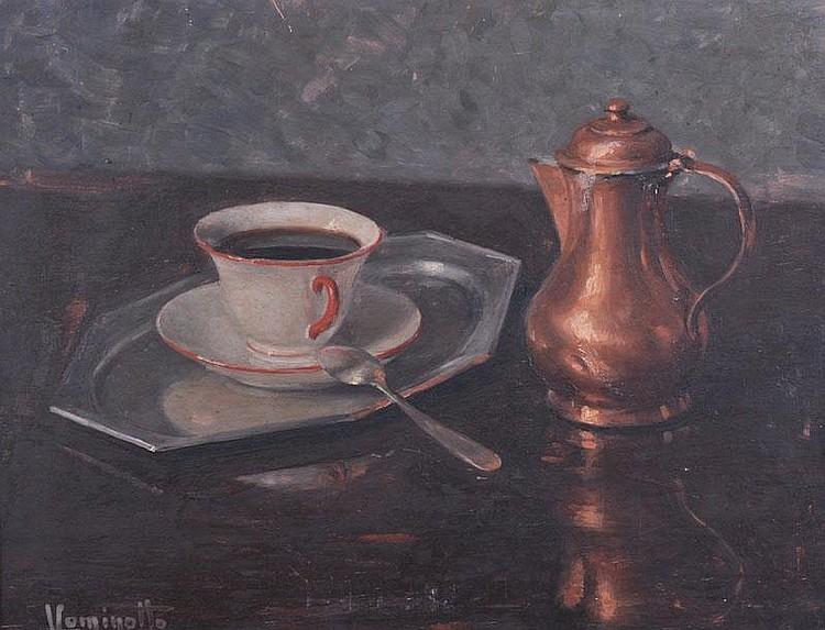 L. COMINOTTO (ITALIAN) Still Life, coffee cups and