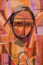 """Louis Latapie (1891-1972) French, An abstract portrait study, reputedly Christ, oil on canvas, signed, 19.5"""" x"""