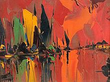 George R Deakins (1911-1982) British . Boats at