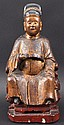 A CHINESE QING DYNASTY POLYCHROMED WOOD FIGURE OF