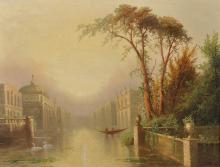 """James Salt (1850-1903) British. A Capriccio Venetian Scene, Oil on Canvas, 14"""" x 18"""", and the companion piece, a Pair (2)."""
