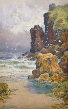 """Arthur Suker (1857-1902) British. """"Guernsey Coast"""", Watercolour, Signed, and Inscribed on the mount, 14"""" x 9""""."""