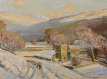 """Herbert F... Royle (1870-1958) British. A Snowy Winter Landscape with a Shepherd and his Flock by St Michael and All Ages Church, Hubberholme, Oil on Board (Life Sketch), Signed, 12"""" x 16""""."""