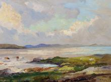 """Herbert F... Royle (1870-1958) British. Cattle on an Estuary with the Sea in the distance, Oil on Board (Life Sketch), Signed, 12"""" x 16""""."""