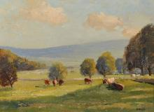 """Herbert F... Royle (1870-1958) British. Cattle in a Field, with Hills in the distance, Oil on Artist's Board (Life Sketch), Signed, 12"""" x 16""""."""