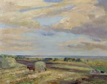 """Herbert F... Royle (1870-1958) British. A Farmer with his Horse and Cart in a Field, Oil on Board (Life Sketch), Signed, 16"""" x 20""""."""