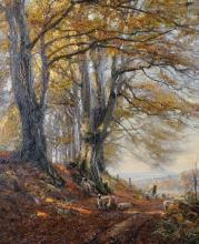 """Herbert F... Royle (1870-1958) British. """"Autumn - Naworth Woods"""", with Sheep in the Shade of Trees, Oil on Canvas, Signed, and Inscribed and Dated 1908 on the reverse, 24"""" x 20""""."""
