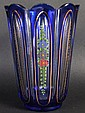 AN EARLY 20TH CENTURY BOHEMIAN BLUE GLASS VASE