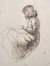 Manner of John Everett Millais (1829-1896) British. Study of a Seated Girl, Pen and Ink, 6.25