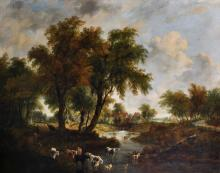 Frederick William 'Waters' Watts (1800-1870) British. A River Landscape with a Watermill, and Figures and Cattle in the foreground, Oil on Canvas, 40