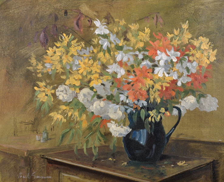Paul Gunn (1934-    ) British. Still Life of Summer Flowers in a Jug, Oil on Canvas, Signed, 18