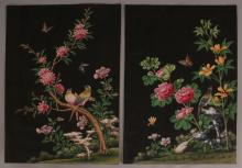 A PAIR OF FINE QUALITY 19TH CENTURY CHINESE PAINTINGS ON PAPER, each painted with a vividly coloured scene of birds, butterflies, rockwork and foliage, each scene reserved on a black ground, each 17.7in x 12.5in.