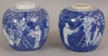 A NEAR PAIR OF 19TH CENTURY CHINESE BLUE & WHITE PORCELAIN JARS, each unusually painted with a scene of men gathering leaves from trees, one jar with an unglazed neck, 5in & 5.2in high.