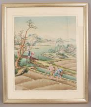 A GOOD QUALITY 18TH/19TH CENTURY FRAMED CHINESE PAINTING ON PAPER, circa 1800, depicting in vivid colours a lady with a boy and attendant observing two workers in a rice paddy beside a river and mountains beyond, the frame 24in x 20.25in, the visible part of the painting itself 17.5in x 14.75in.