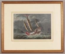 A GOOD QUALITY 19TH CENTURY FRAMED CHINESE PAINTING ON PAPER OF A JUNK IN STORMY SEAS, circa 1850, the boat itself in vivid colouring against a sombre background, the frame 15.4in x 12.7in, the visible part of the painting itself 9.25in x 6.25in.