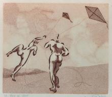 Rene Giraud 'Moebius', (1938-2012) French. 'Le Coup de Vent', Lino Cut, Signed and Inscribed in Pencil, 8