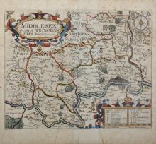 Johannes 'John' Norden (c.1547-1625) British. 'Middlesex, Olimba Trinoban Tibvs', Map, 10.75