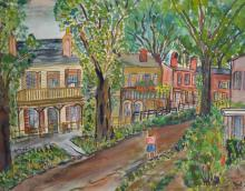 H... Barpp (20th Century) British. A Garden Scene, with a Girl by a Terrace of Houses, Watercolour, Signed and Dated '51, and Indistinctly Inscribed, 18