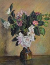 V... Gardiner (20th Century) British. Still Life of Flowers in China Vase, Pastel, Signed, 18.5
