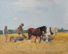 """Thomas Austen Brown (1859-1924) British. """"Reaping the Corn"""", with Figures and Horses, Watercolour, Signed twice, 13.25"""" x 16.75""""."""