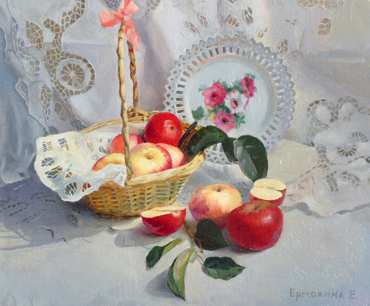 Elena Iermokhina (1974-   ) Russian. Still Life of Apples in a Basket, Oil on Canvas, Signed, and Inscribed on the reverse, 9