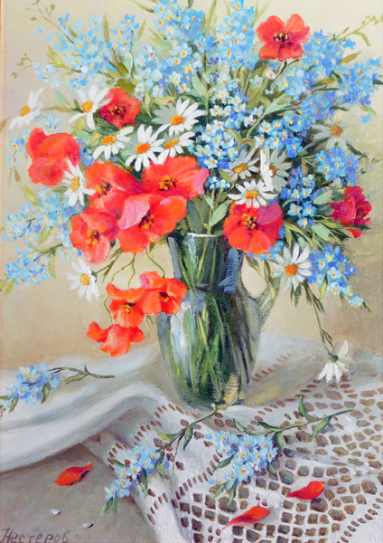 Igor Nesterov (1961-    ) Russian. Still Life with Flowers in a Vase, Oil on Canvas, Signed, and Inscribed on the reverse, 13